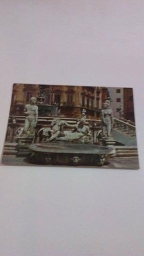 cartão postal antigo palermo fontana pretonia 9127