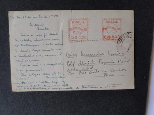 cartão postal antigo santos sp praia do gonzaga 1950