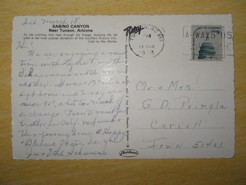 cartão postal antigo,sabino canyon, perto de tucson, arizona