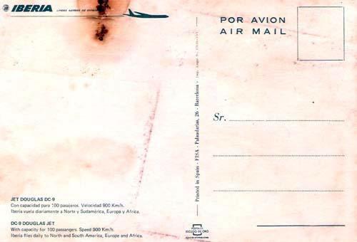cartão postal avião jet douglas as dc 9 ibéria anos 70 novo.