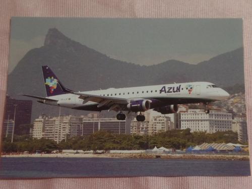 cartão postal azul linhas aéreas