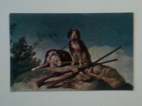 cartão postal  cães de caça - goya