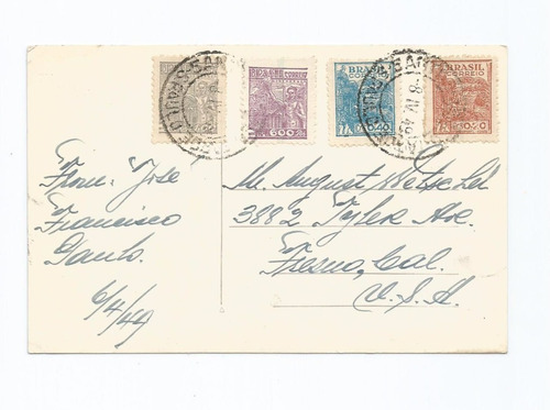 cartão postal,brasil,praia do gonzaga,circulado 1949.descr.