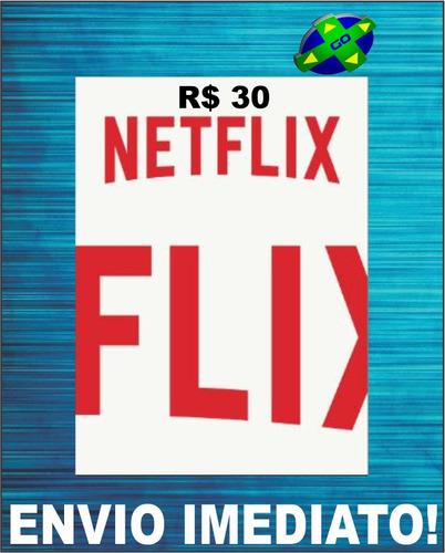 cartão pré - pago netflix r$ 30 reais presente assinatura