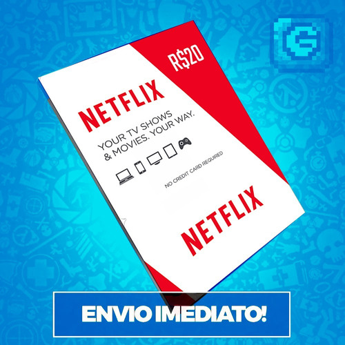 cartão pré-pago presente netflix r$ 20 reais envio imediato