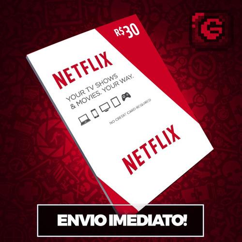 cartão pré-pago presente netflix r$ 30 reais envio imediato
