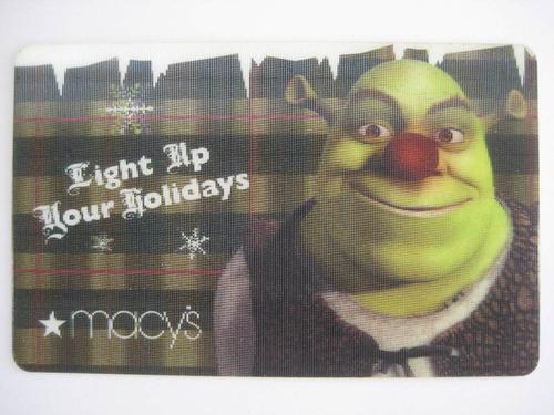 cartão presente sem crédito p/ colecionar gift card shrek
