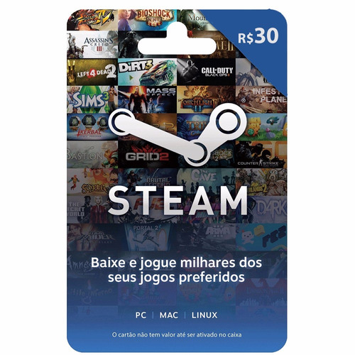 cartão presente steam gift card r$ 30 reais - envio digital