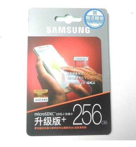 cartão samsung 256gb 100mb/s 4k 100% original sd brinde