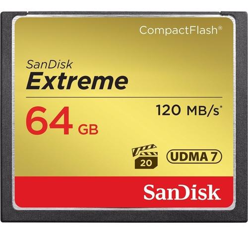 cartão sandisk compact flash extreme 64gb/120mb's - lacrado