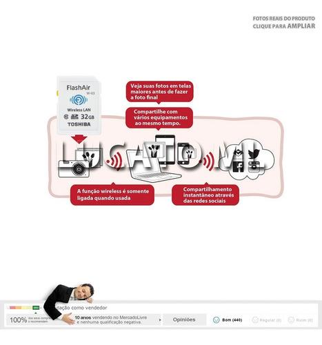 cartão sd wifi flashair toshiba 32gb classe 10 w03