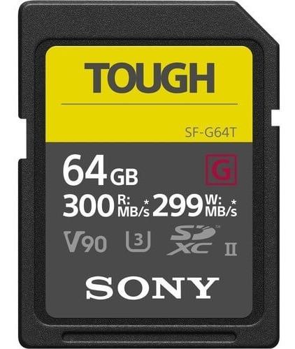 cartão sdxc sony 64gb sf-g tough serie g uhs-ii v90 300 mb/s
