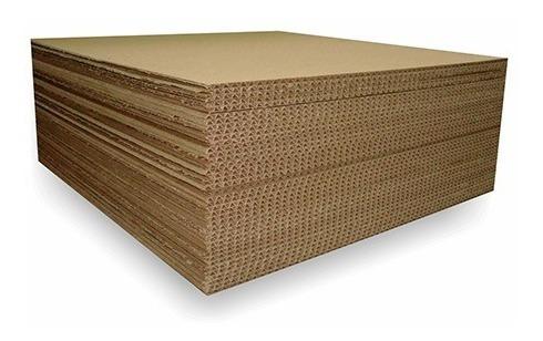 cartón corrugado lámina sencilla 4mm. 1.30x1.60mts. 12pzas.