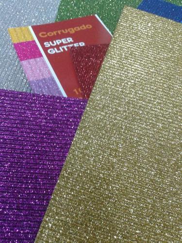 cartón microcorrugado glitter brillo 50x70 plancha