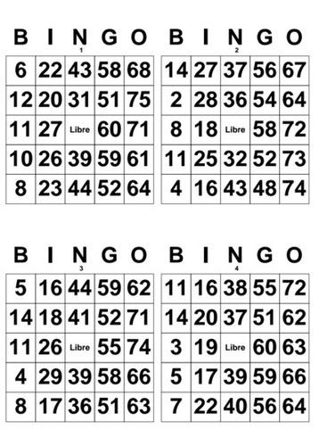 Cartones De Bingo De 80 Bolas Para Imprimir Pdf Gratis - staffend