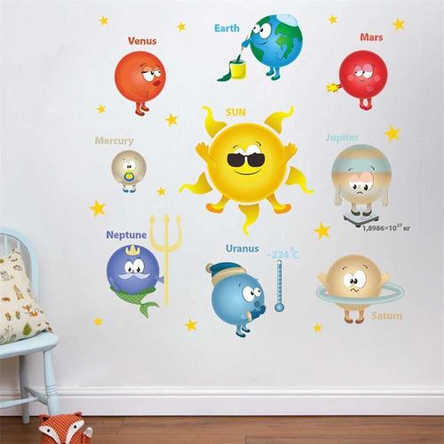 cartoon solar system planets wall stickers sun earth m...
