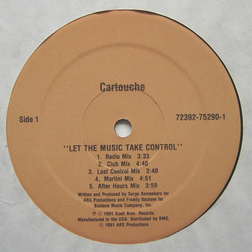 cartouche  12 single  let the music take control   import.