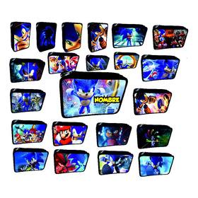 Cartuchera  Sonic Personalizada 2 Pisos Negra O Rosa
