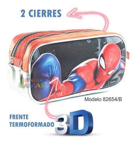 cartuchera 2 cierres hombre araña original wabro mundomanias
