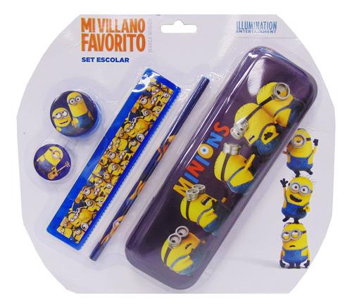 cartuchera con accesorios minions