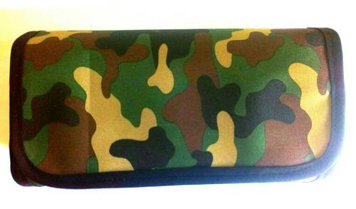 cartuchera desplegable 4 espacios en tela camuflada y otras