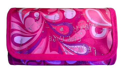 cartuchera desplegable calaveras en tela forrada