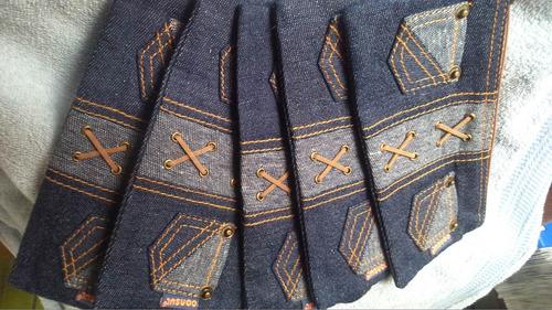 cartuchera en tela de jean con bolsillos