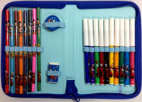 cartuchera mickey mouse con colores y marcadores de disney