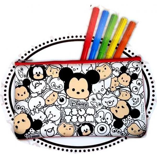Cartuchera Para Colorear Tsum Tsum Lavable Con 5 Marcadores