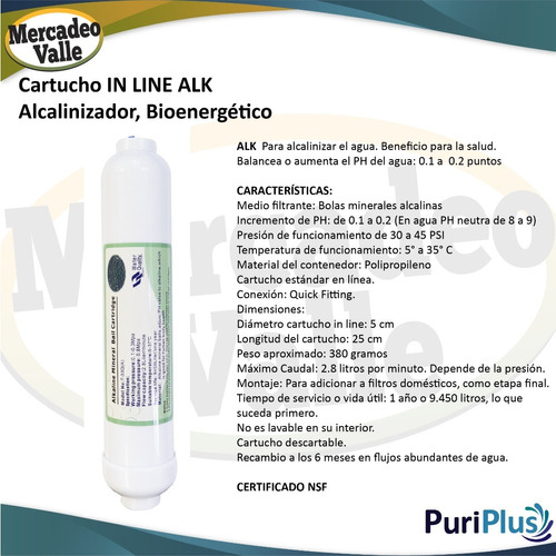 cartucho alcalinizador in line alk mineral para filtro agua