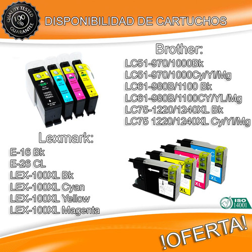 cartucho compatible brother lc61 lc51 lc75 l970/980/1220
