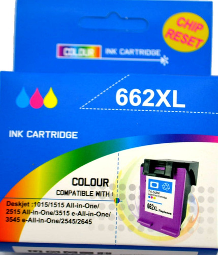 cartucho compatible hp 662 xl color, 9 veces mas tinta