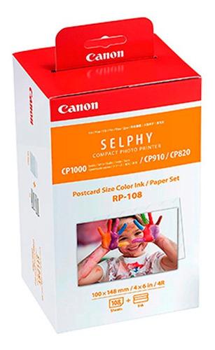 cartucho de tinta canon rp-108 + papel térmico 4x6  108h