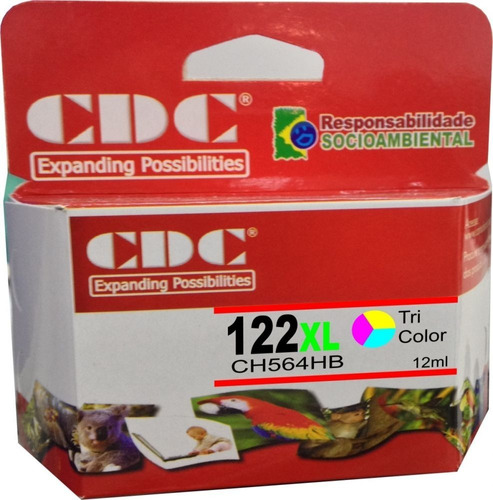 cartucho de tinta cdc 122 xl colorido 12 ml ch564 compatível