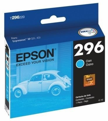 cartucho de tinta epson 296 cian, modelo: t296220.