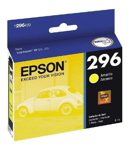 cartucho de tinta epson t296420 296 amarillo original
