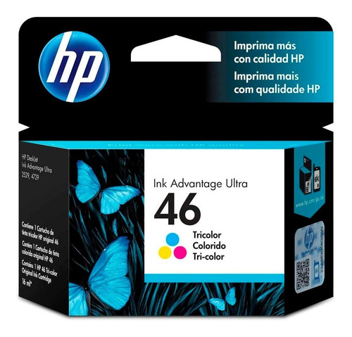 cartucho de tinta hp ink advantage ultra 46 tricolor cz638al