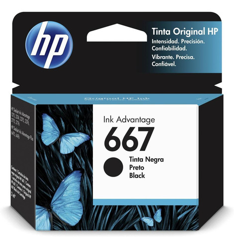cartucho de tinta hp original ink advantage 667 negro