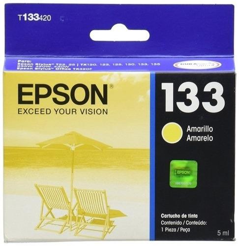cartucho de tinta para stylus t epson t133 amarillo original