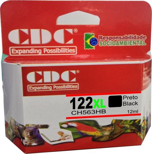 cartucho de tinta p/hp 122 xl preto 13 ml ch563 | compativel