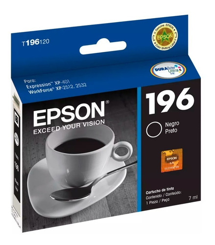 cartucho epson 196 negro original xp401 411 211 101  201 214