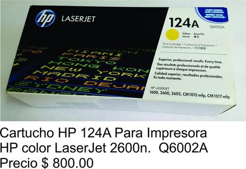 cartucho hp 124a impresora hp color laserjet 2600n q6002a