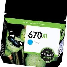 cartucho hp 670xl - print cartridge - 1 x dye-based cyan - 7