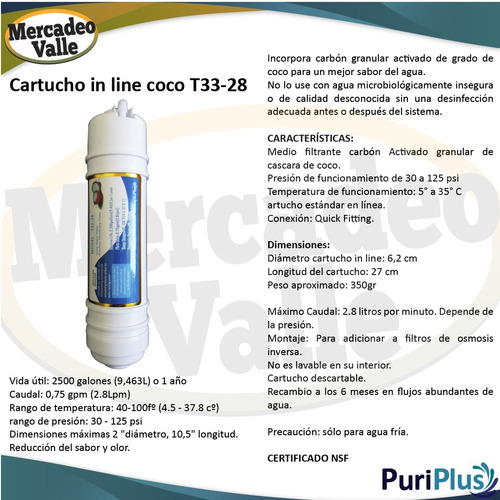 cartucho in line big t33 carbon cascara coco repuesto filtro