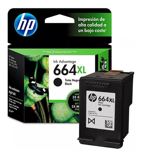 cartucho original hp 664xl negro 3775 3785 2135 4535 4675