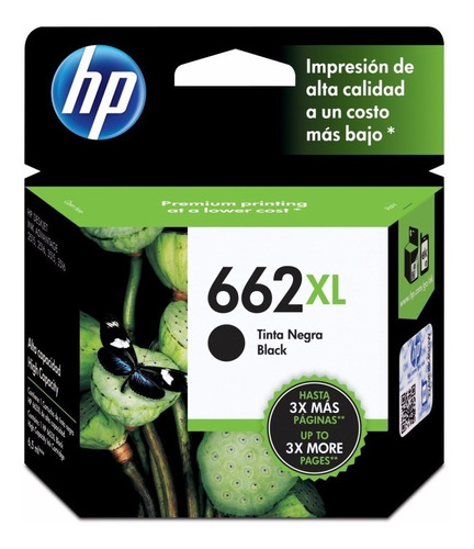 cartucho para hp 662xl negro original 2515 3515 2545 3545