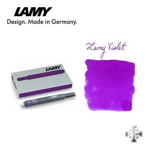 cartucho para pluma fuente lamy t10. tinta violeta (5 pzas)