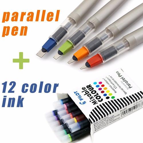 cartucho refil 12 cores caneta parallel pen pilot