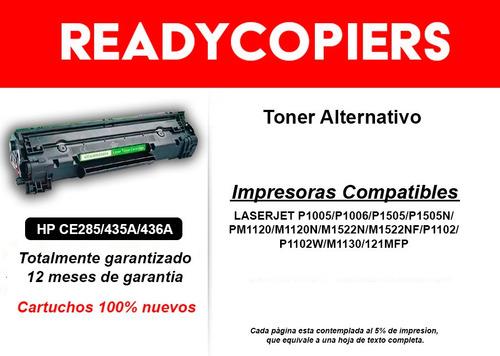 cartucho toner alternativo hp p1102w 285a 435a 436a 85a 1102