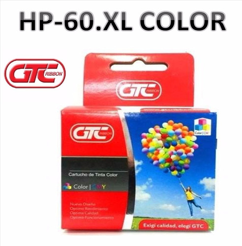 cartuchos alternativo hp 60 xl color gtc tamaño grande